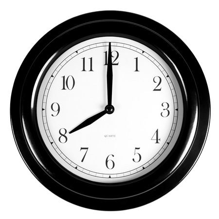 Eight oclock on the black wall clock, isolated on white Stock Photo