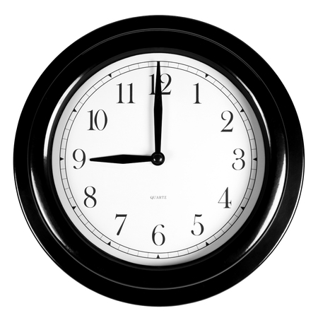 oclock: Nine oclock on the black wall clock, isolated on white