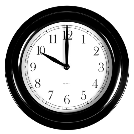 Ten oclock on the black wall clock, isolated on white