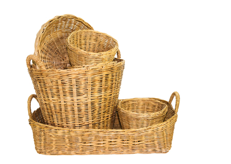 Wicker baskets isolated on white Stock Photo