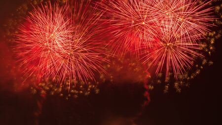 Close-up of real fireworks celebration and night skies background.