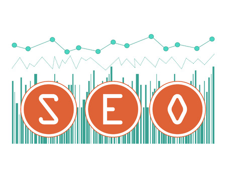 visitor: illustration concept of SEO word on graph background