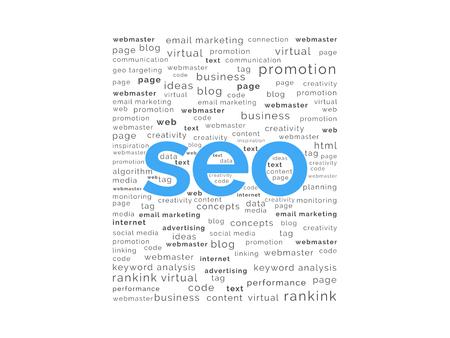 backlink: SEO word with keywords background Illustration