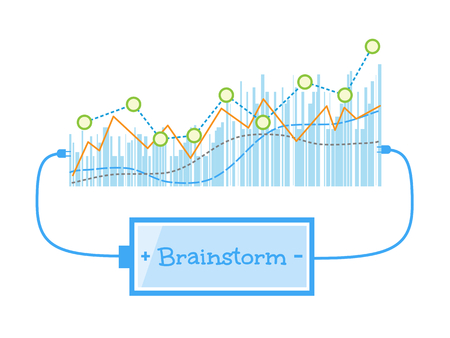grow up: Brainstorm word charging battery power with grow up graph background