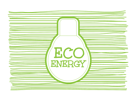 eco energy: Eco energy word combined with light bulb on scribble greenline background Illustration