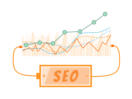 backlink: SEO word charging battery power with grow up graph background Illustration