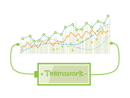 grow up: Teamwork word charging battery power with grow up graph background