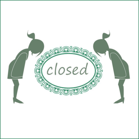 Closed text with ladies bowing vector illustration.