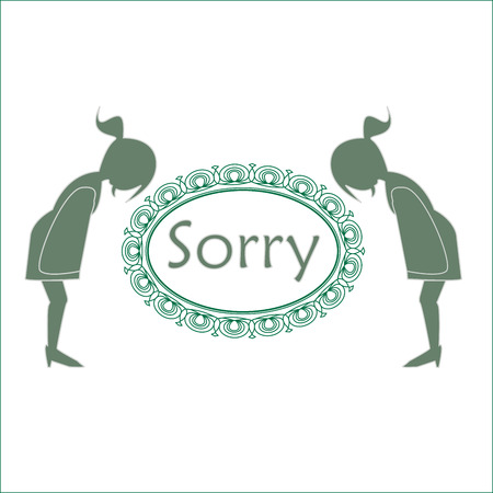 Sorry text with ladies bowing vector illustration. Illustration