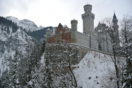 Neuschwanstein castle in winter ,Fussen, Germany