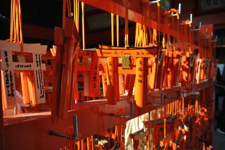 KYOTO, JAPAN - Novermber 18, 2016: Miniature torii gates at Fushimi Inari shrine in Kyoto, Japan. Editorial
