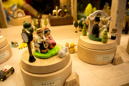 Colorful wooden music box in Huashan 1914 Creative Park shop Stock Photo