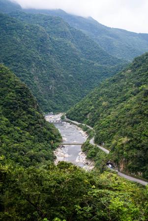 Scenic viewpoint of Dam on  Liwu river, Taroko national park Stock Photo