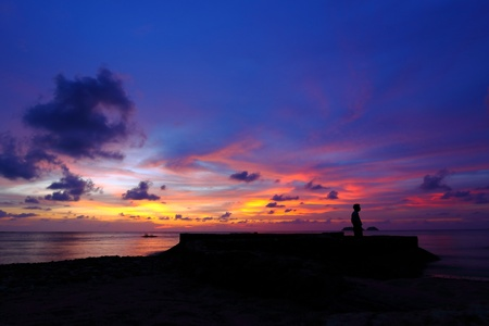 Beautifull tropical sunset at sea