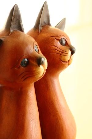 木製の猫 写真素材