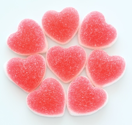 Heart shape jelly coated with sugar
