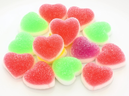 Multicolour heart shape jelly coated with sugar Stock Photo