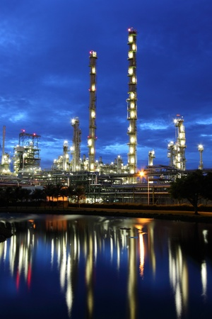 Petrochemical plant reflecting in water at dusk