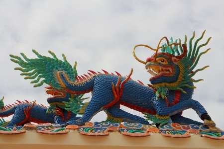 Dragon-headed unicorn on the roof photo
