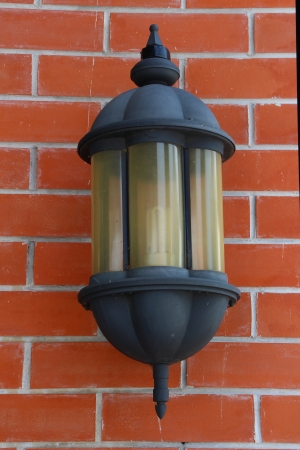 lamp with brick background photo