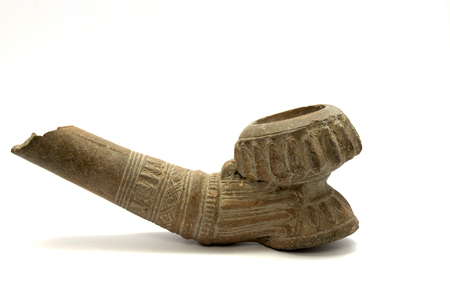 burmese: Clay thai lanna Burmese tobacco smoking pipe.