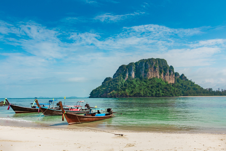 rabi: long boat and poda island in Krabi Thailand Stock Photo