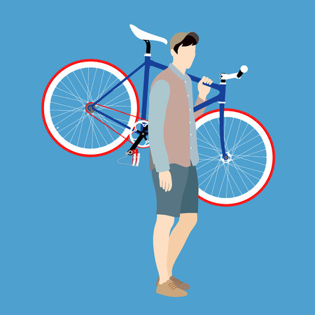 pedaling: Cyclists and fixed gear bicycle