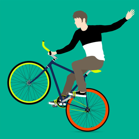 front wheel: Cyclists and fixed gear bicycle