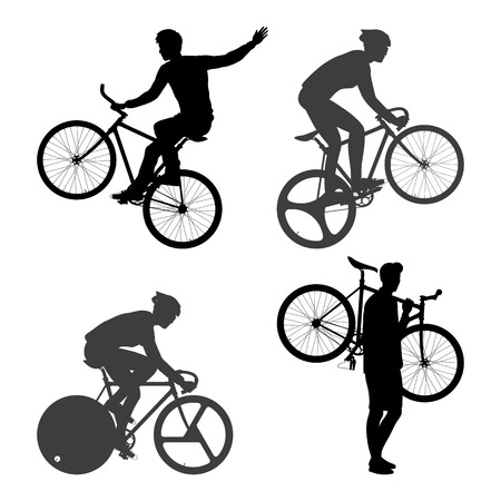 clavados: Ciclistas Hombre y bicicleta fija del engranaje