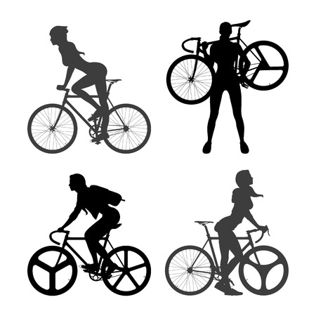 pedaling: Cyclists Woman and fixed gear bicycle Illustration