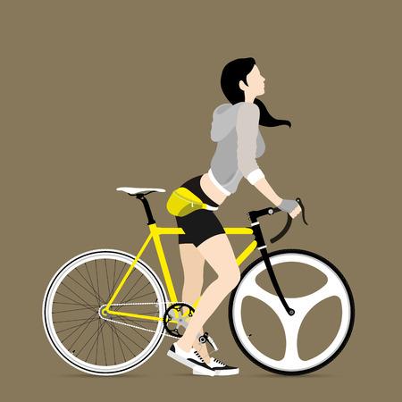 clavados: Los ciclistas y bicicletas artes fijos