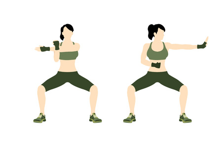 girl fight: Young woman body combat and fitness Illustration