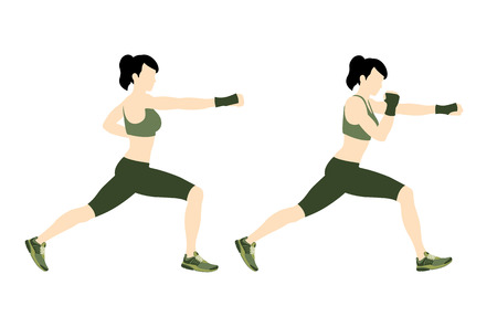 Young woman body combat and fitness Vector Illustration