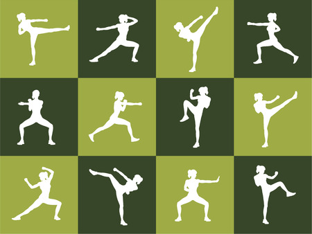 kickboxing: Young woman body combat and fitness Illustration