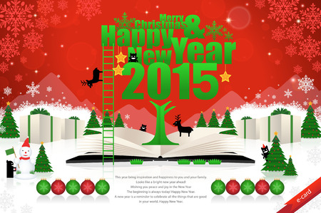 happy new year text: Merry christmas and happy new year card