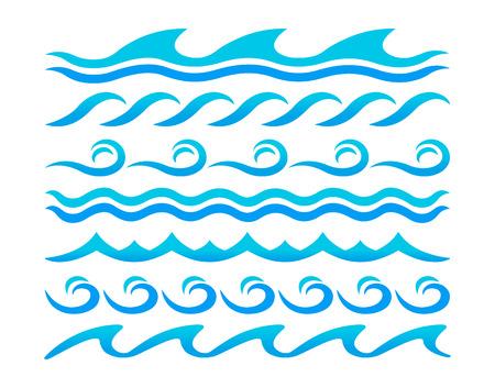 Water waves design elements vector set Vector