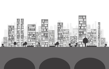 abstract building: Building and City Illustration