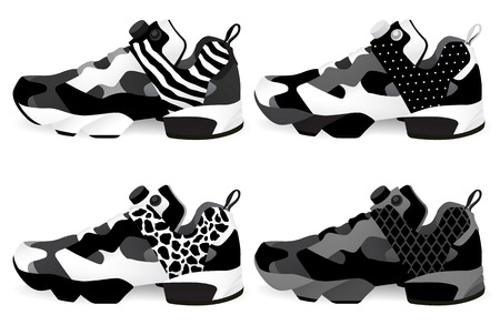shoes vector: Running shoes - Sneakers set. Vector and illustration