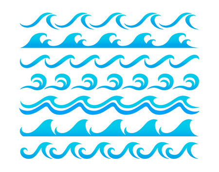 Blue ocean waves set curling and breaking, with swirls and in undulating patterns