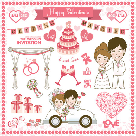 cartoon wedding couple: Happy Valentine Card. Vector and illustration Illustration