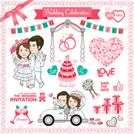 wedding ceremony: Happy Wedding Card. Vector and illustration Illustration