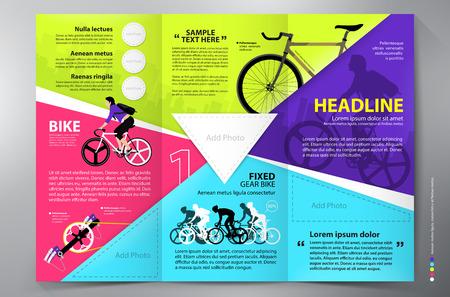 Brochure leaflet design tri-fold template. Vector illustration