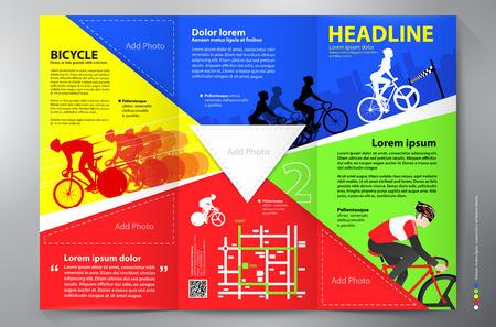 fold back: Brochure leaflet design tri-fold template. Vector illustration