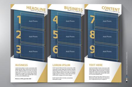 fold back: Brochure leaflet design a4 tri-fold template.