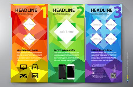 leaflet design: Polygon brochure leaflet design tri-fold template. Vector illustration