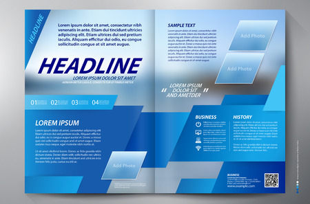 trapezoid: Brochure design two pages a4 template. Vector illustration