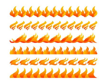 Fire design elements vector set on white background Vector