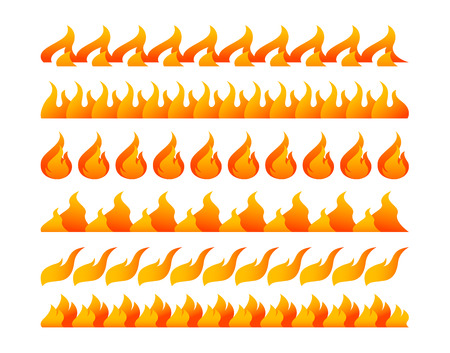 Fire design elements vector set on white background
