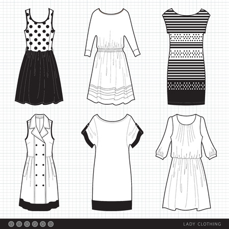 collection of fashionable clothes seasons spring, summer for girl Ilustração