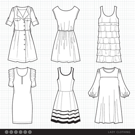 dress suit: collection of fashionable clothes seasons spring, summer for girl Illustration